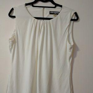 Karl Lagerfield Paris Women Sz L/G White Blouse